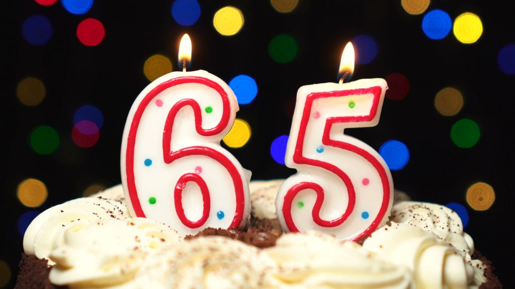 Торт с юбилеем 65 лет
