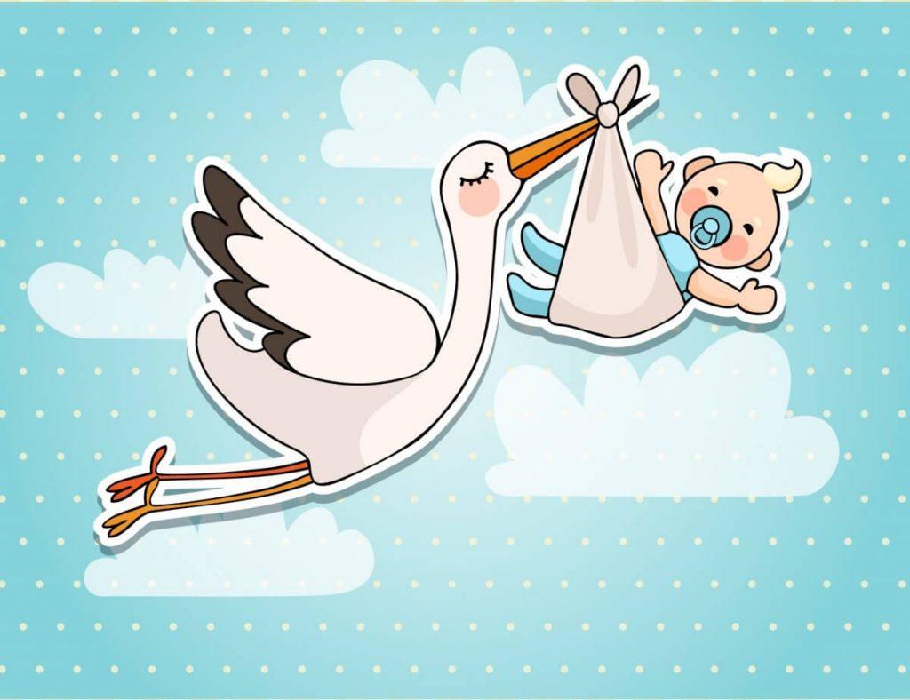 Аист несет ребенка - Поздравление с декретным отпуском