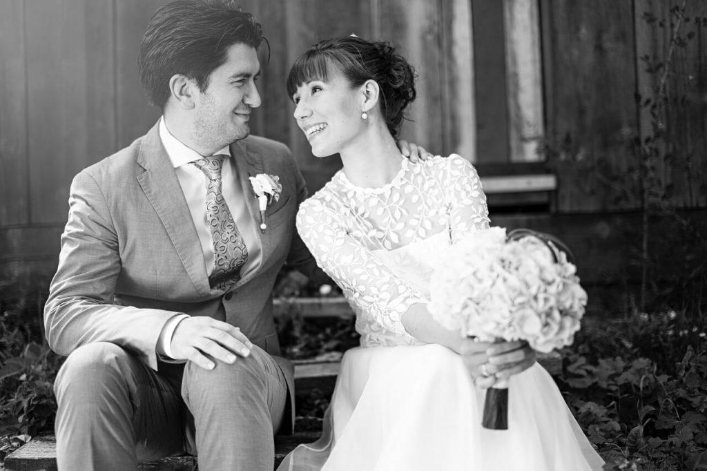 Счастливая пара в день свадьбы